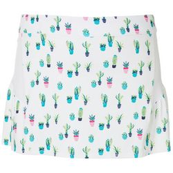 Plus Cactus Mesh Insert Flared Pull On Skort