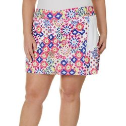 Lillie Green Womens Muted Geo Print Flounce Pull On Skort