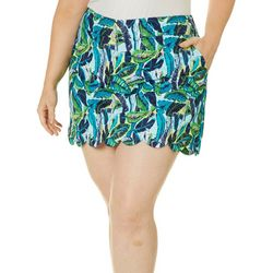 Womens Palm Leaf Scalloped Pull On Skort