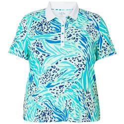 Plus Mixed Animal Print Polo Shirt