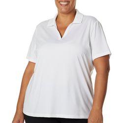 Plus Solid Short Sleeve Polo Shirt