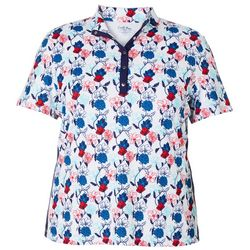 Coral Bay Golf Plus Floral Print Polo Shirt