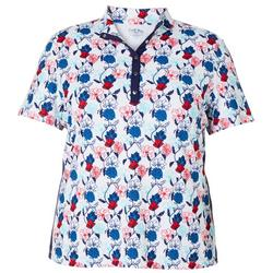 Plus Floral Print Polo Shirt