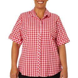 Alia Plus Crinkled Gingham Cuffed Sleeve Top