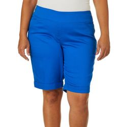 Alia Plus Solid Twill Stretch Pull On Bermuda Shorts