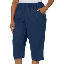Alia Plus Heathered Solid Pull On Capris