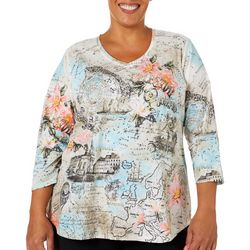 Alia Plus Embellished Celestial Travel Print V-Neck Top