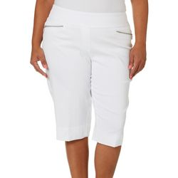 Alia Plus Solid Zipper Pocket Pull-On Skimmer Capris