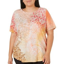 Alia Plus Mix Media Print Top