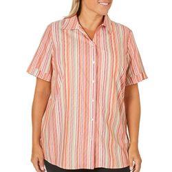 Alia Plus Campshirt Stripe Button Down Top