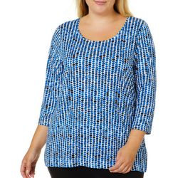 Alia Plus Dot Print Side Split Hem Top