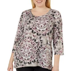 Alia Plus Mosaic Print Round Neck Top