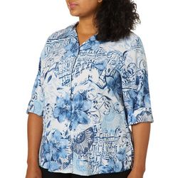 Alia Plus Barcelona Print Button Down Top