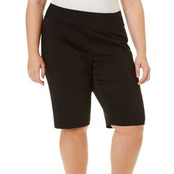 Alia Plus Pull-On Solid Bermuda Shorts