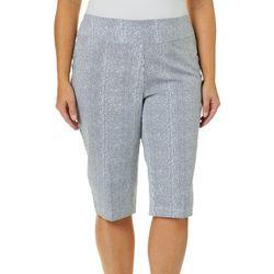 Alia Plus Striped Pull On Button Hem Skimmer Shorts
