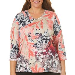 Alia Plus Embellished Mixed Floral Top