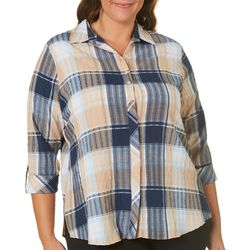 Alia Plus Plaid Textured Line Button Down Top