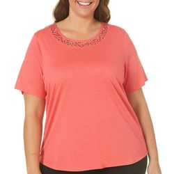 Alia Plus Stone Embellished Neck Top