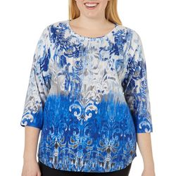 Alia Plus Embellished Brushstroke Scroll Print Top