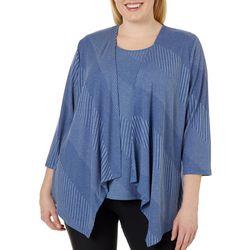 Alia Plus Textured Knit Duet Top