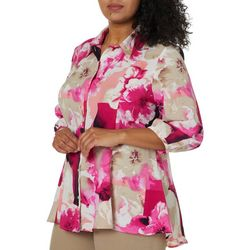 Alia Plus Floral Patch Button Down Top