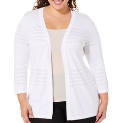 Alia Plus Open Front Shadow Stripe Cardigan