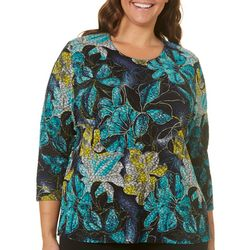 Alia Plus Tropical Floral Print Glitter Top