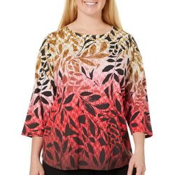 Alia Plus Embellished Ombre Leaf Print Top