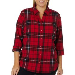 Alia Plus Crinkle Plaid Button Down Top