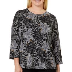 Alia Plus Animal Print Foil Textured Top