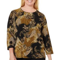 Alia Plus Paisley Print Foil Textured Top
