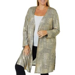 Alia Plus Metallic Distressed  Embellished Grommet Cardigan