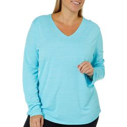 Reel Legends Plus Freeline Space Dyed Long Sleeve V-Neck Top