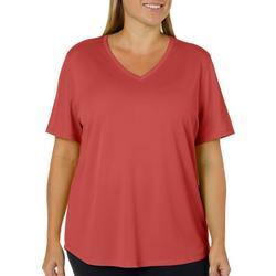 Plus Freeline Solid V-Neck Short Sleeve Top