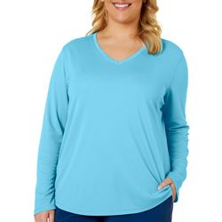 Reel Legends Plus Freeline Solid V-Neck Long Sleeve Top