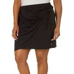 Plus Elite Comfort Solid Tie Waist Skirt