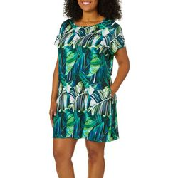Reel Legends Plus Keep It Cool Exploded Leaf T-Shirt Dress