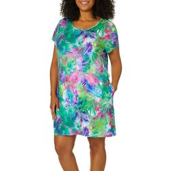 Reel Legends Plus Keep It Cool Bajou Palm T-Shirt Dress