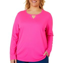 Plus Freeline Solid Keyhole Long Sleeve Top