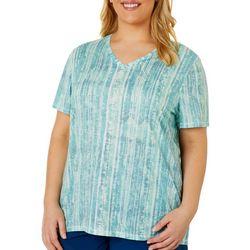 Reel Legends Plus Blurred Lines Print Raglan Sleeve Top