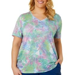 Reel Legends Plus Bayou Palms Print Ribbed V-Neck Top