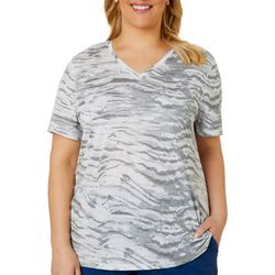 Reel Legends Plus Ink Wash Print Ribbed V-Neck Top