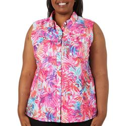 Plus Saltwater Airy Palms Sleeveless Top