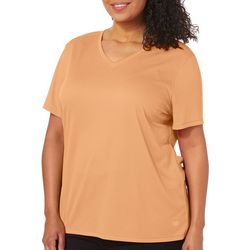 Reel Legends Plus Freeline Solid V-Neck Short Sleeve Top