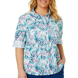 Reel Legends Plus Adventure Half Tone Palm Button Down Top