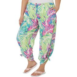 Plus Skeched Palms Beach Day Convertible Pants
