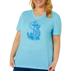 Reel Legends Plus Reel Anchor and Coral V-Neck Top
