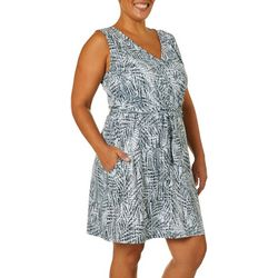 Reel Legends Plus Keep It Cool Textured Palms Dress