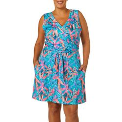 Reel Legends Plus Keep It Cool Colorful Palms Dress