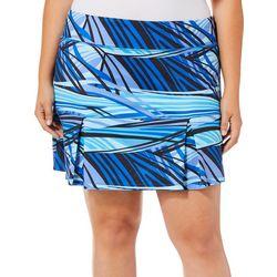 Reel Legends Plus Keep It Cool Stripe Print Skort